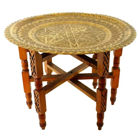 moroccan tray coffee table traditional moroccan brass and wood tray table for sale at