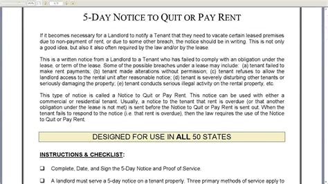5 Day Notice To Quit Or Pay Rent Landlord To Tenant Youtube Pay Or Quit Notice Virginia Template