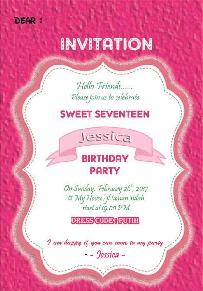desain kartu undangan ulang tahun sweet seventeen jual kartu undangan ulang tahun invitation card sweet