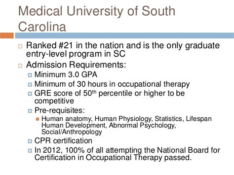 Clemson Mba Gpa Requirements by Occupational Therapy Presentation 2
