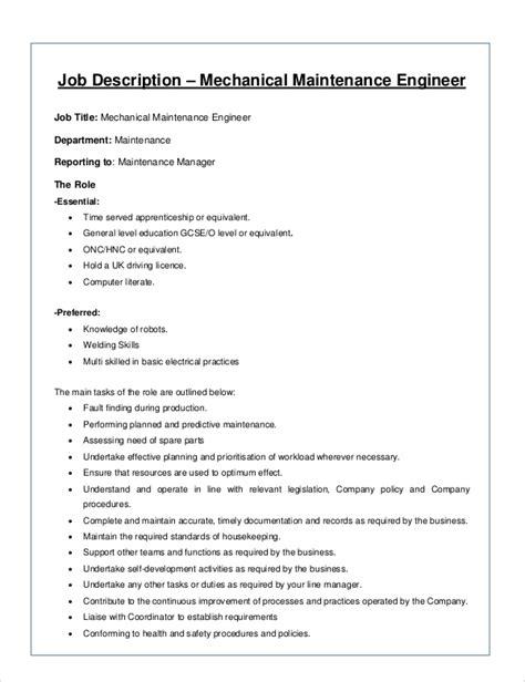 8 Mechanical Engineer Job Description Sles Sle Templates Maintenance Description Template