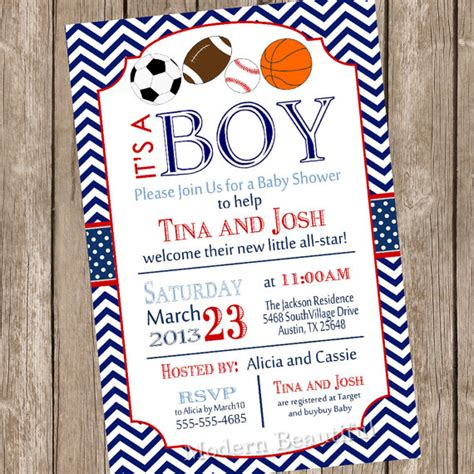 Free Printable Sports Themed Baby Shower Invitations by All Sports Baby Shower Invitation Football Soccer