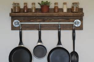 Pan Shelf With Hooks Kitchen Dining Rustic Wooden Wall Mount Stell Pot Rack
