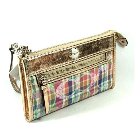 poppy wallet coach poppy madras zippy wallet wristlet 47591 coach 47591