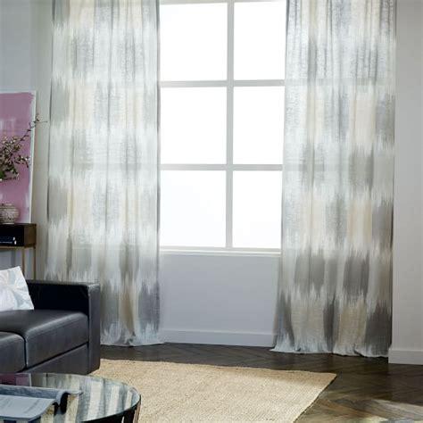 ikat sheer curtains linen cotton ikat blocks curtain west elm
