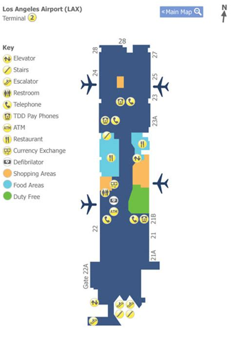 los angeles airport lax terminal 2 map map of terminal