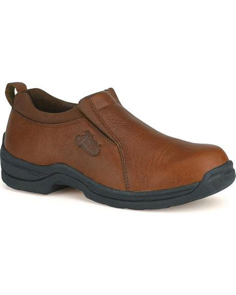 justin leather slip on shoes sheplers
