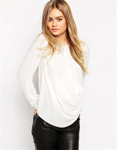 drape front blouse lyst asos drape front blouse with keyhole detail in white