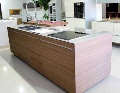 ex display walnut kitchen island glass worktops and miele