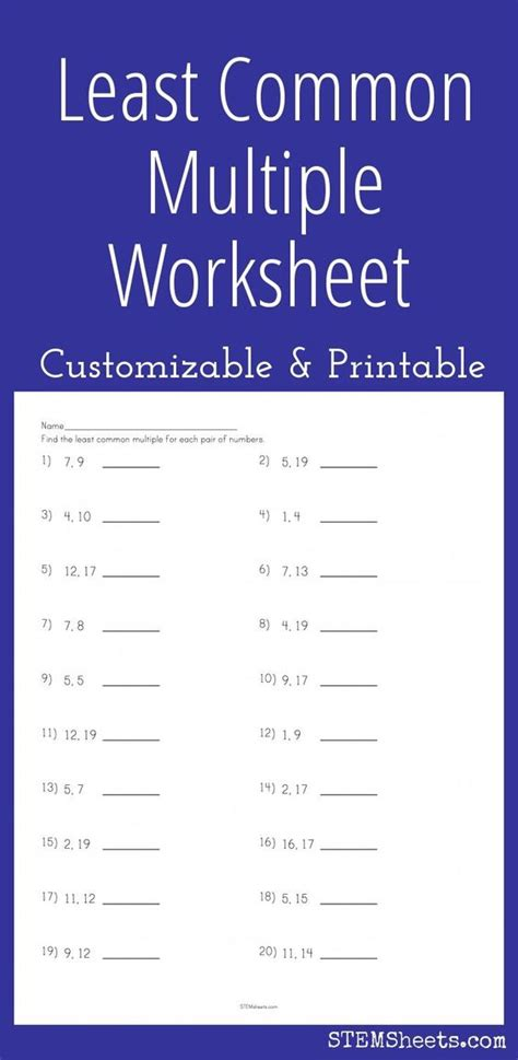 printable math worksheets least common multiple math least common multiple and worksheets on pinterest