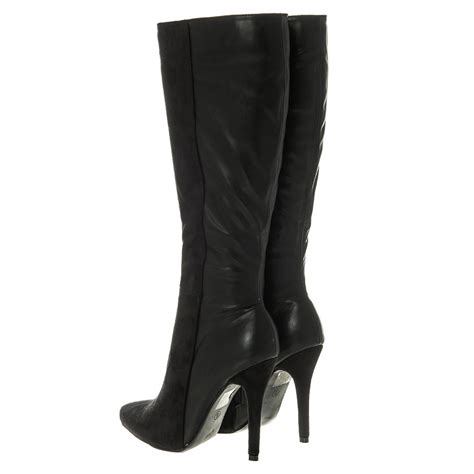 pointed high heel knee high boot zip miss from