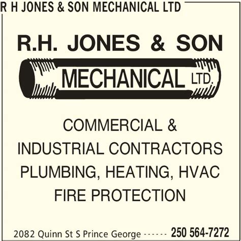 Nelson And Sons Plumbing by R H Jones Mechanical Ltd Opening Hours 2082 Quinn St S Prince George Bc