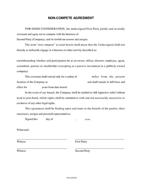 non compete agreement free template generic non compete agreement pdf free software
