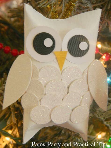 Owl Craft Toilet Paper Roll - pams practical tips snow owl ornaments
