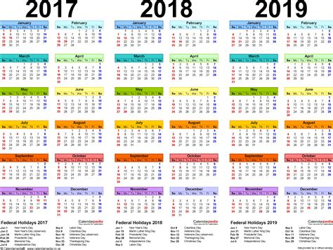 printable year calendar 2017 and 2018 2017 2018 2019 calendar 4 three year printable pdf calendars