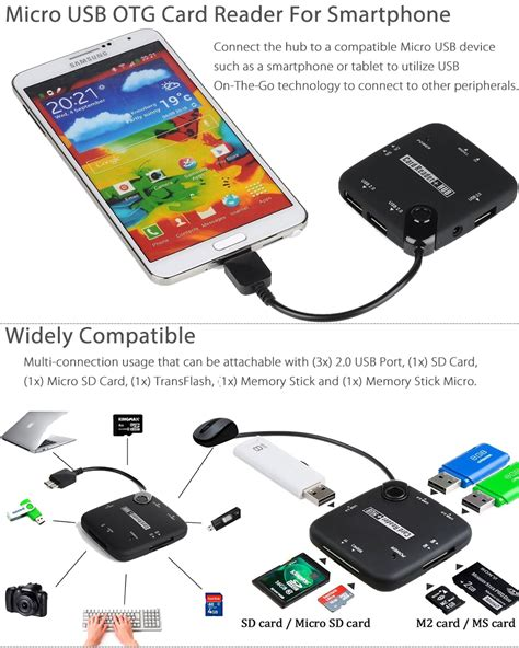Nano Microusb Otg Adapter For Most Smartphones And Tablets micro usb host adapter otg cable sdhc sd tf card reader hub for otg smartphone ebay