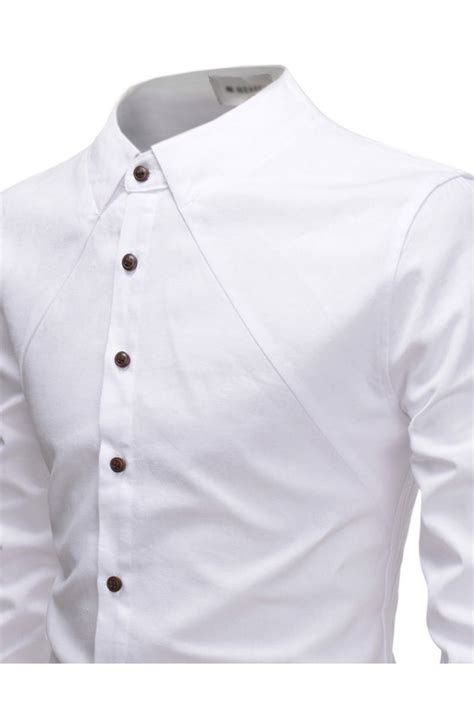white  collar designer long sleeved casual dress shirts