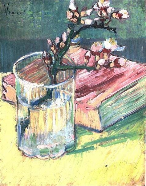 libro footpath flowers blossoming almond branch in a glass with a book vincent van gogh wikiart org encyclopedia