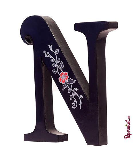 N Y La letras decoradas con flor aspecto plateada papermint