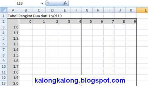 membuat tabel menggunakan html membuat tabel pangkat dua menggunakan excel artikel