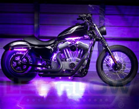 purple led light strips for motorcycles motorcycle led lights by ledglow lighting