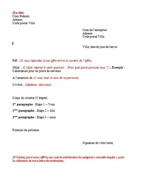Lettre De Motivation De Reponse A Une Annonce Plan Type Pour La R 233 Daction D Une