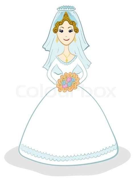 braut comic cartoon the bride in wedding dress with a bouquet of