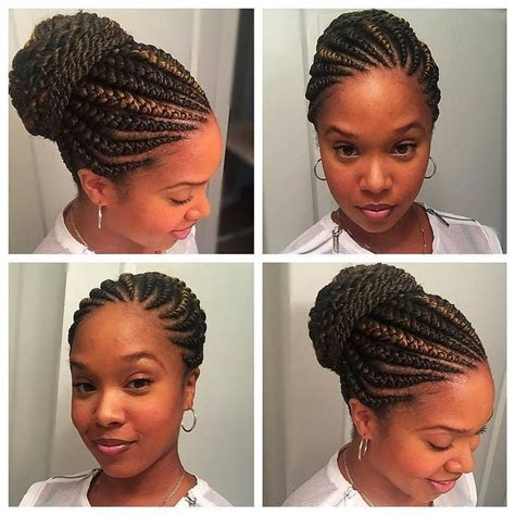 natural cornrow hairstyle to suit round face gorgeous with her ghana braids on a bun huneybflyy