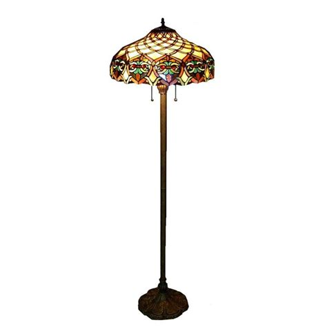 Warehouse of Tiffany 60 in. Antique Bronze Ariel Stained Glass Floor Lamp with Pull Chain Switch