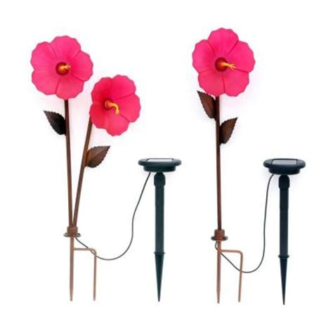 Trendscape Solar Lights Trendscape Hibiscus 3 Bronze Solar Led Path Light Gx