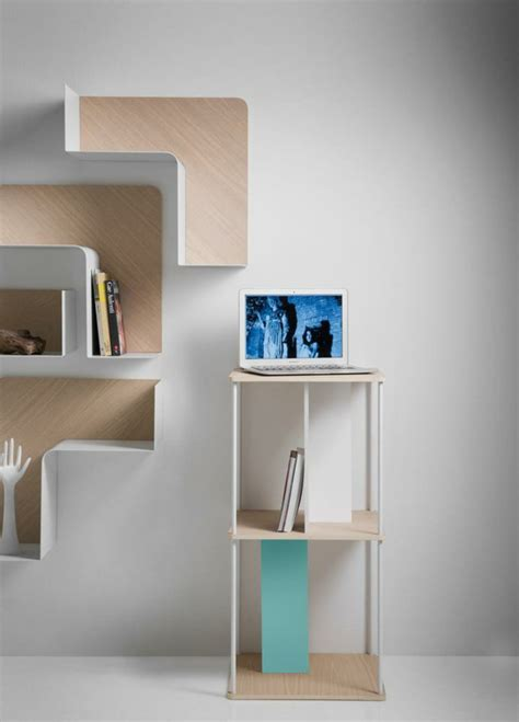 wall bookshelves ideas designer shelves fishbone wall shelves of b line are adaptable fresh design pedia