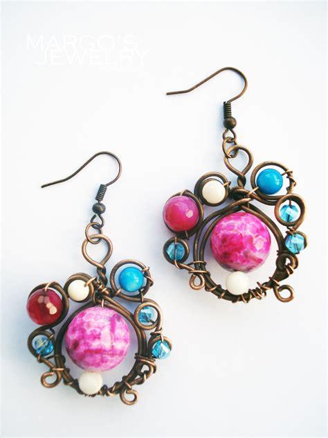 Handmade Jewelry Earrings - handmade earrings copper wire pearl agate
