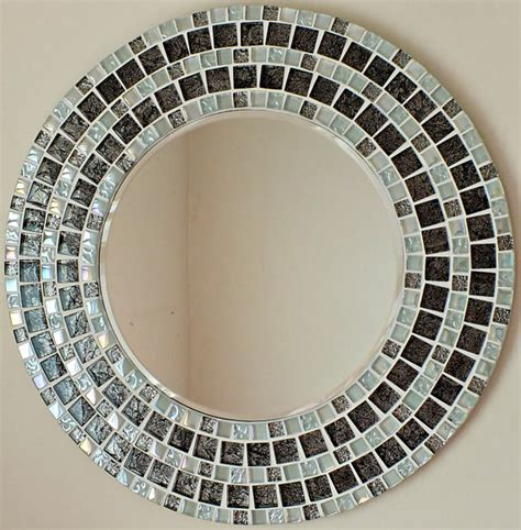 Handmade Mosaic Mirrors - beautiful handmade mosaic mirror bevelled edge glass white