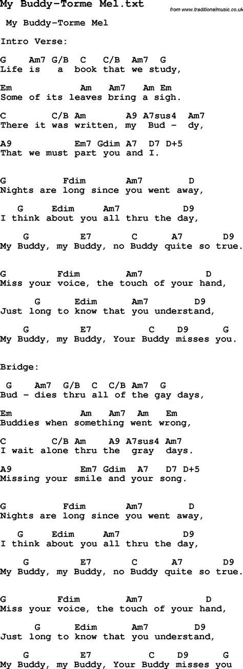 my lyrics jazz jazz song my buddy torme mel with chords tabs and