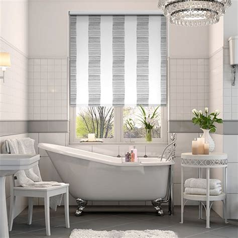 colourful roller blind bathroom splash ceramic stripe clay grey roller blind