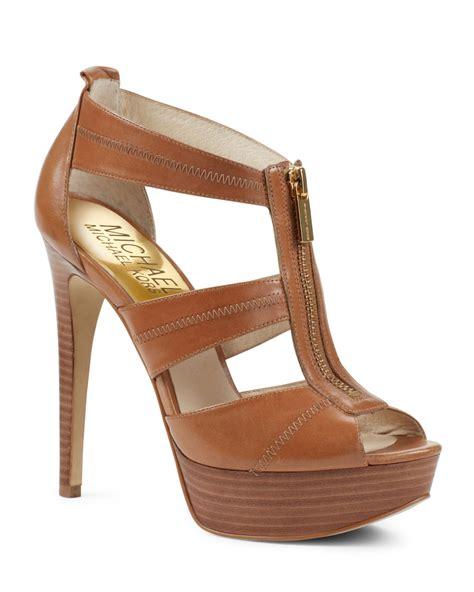 michael kors berkley t sandal michael kors berkley tstrap sandal in brown luggage lyst