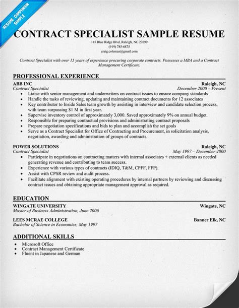 contract specialist resume sle negotiation manager