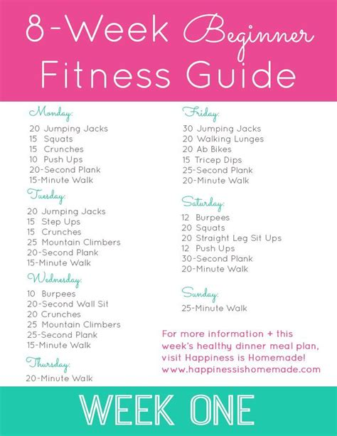home workout plans 8 week beginner fitness jumpstart week one no gym no