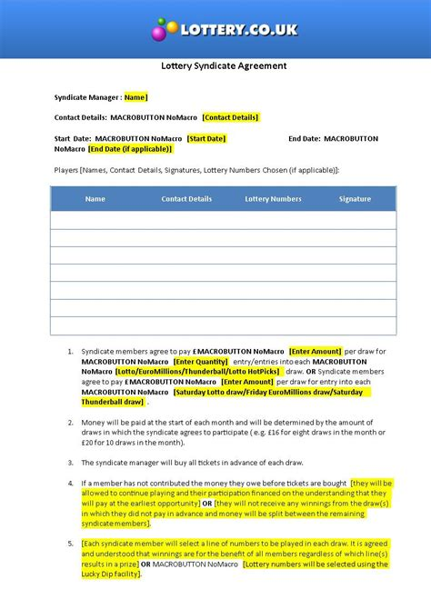 lottery agreement template lottery syndicate agreement template word 28 images 5