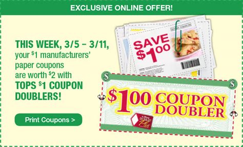 tops grocery coupons printable tops markets dollar doubler printable coupon 3 5 to 3 11