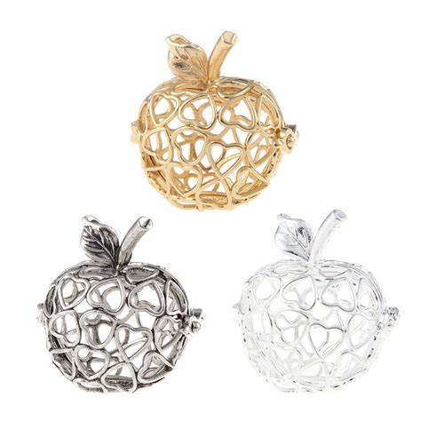 Classic 3 Colors 2017 classic three colors apple shape pendant carved with hollow 3d hollow charm for