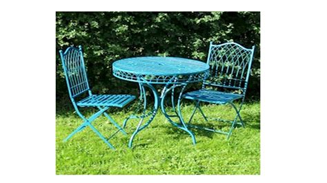 Metal Garden Table And 2 Chairs by Blue Metal Garden Table And 2 Chairs Bistro Set Homegenies