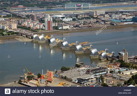 thames barrier viewing point aerial view of the thames barrier in east london stock
