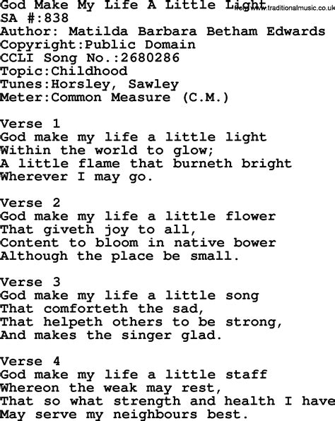 my my song salvation army hymnal song god make my a