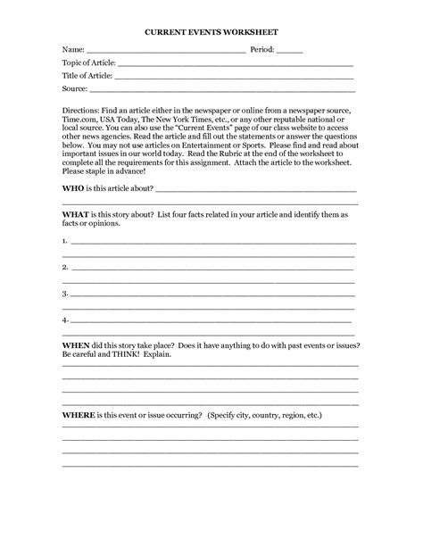 Current Events Worksheets by 18 Best Images Of Current Events Worksheet Template