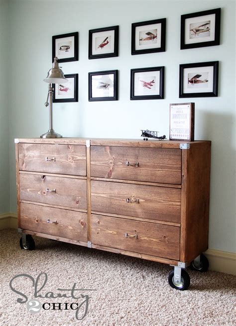 diy furniture wood dresser  wheels shanty  chic