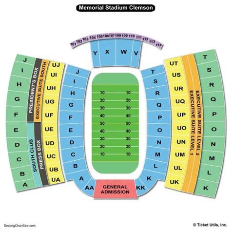 Stadium Seating by Clemson Memorial Stadium Seating Chart Seating Charts