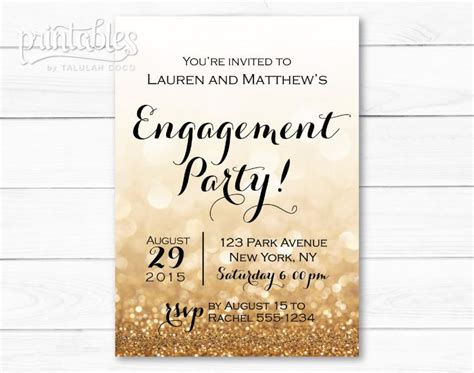 printable invitations engagement engagement party invitation printable black and gold
