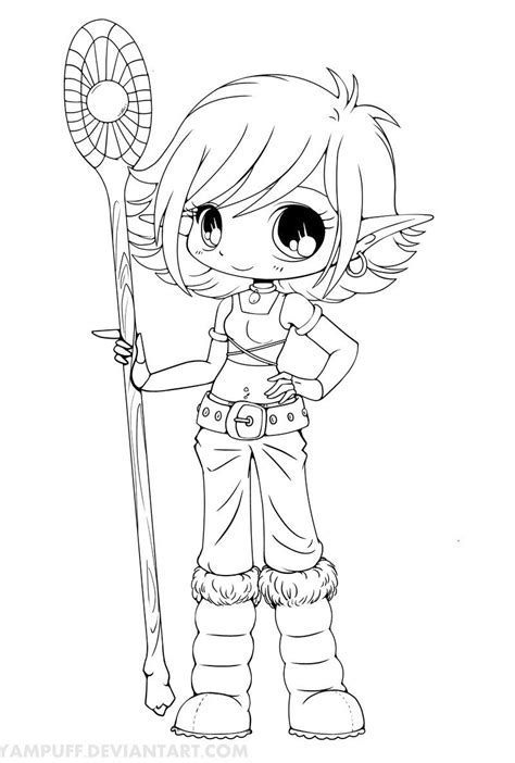 chibi coloring pages for adults lana snow elf chibi lineart by yampuff on deviantart
