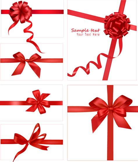 Ribbons Gift Card - gift card with red ribbons design vector 01 over millions vectors stock photos